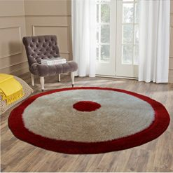Handloom Soft Shaggy Plain Beige With Border Round Carpet (116 Cms) by Avioni