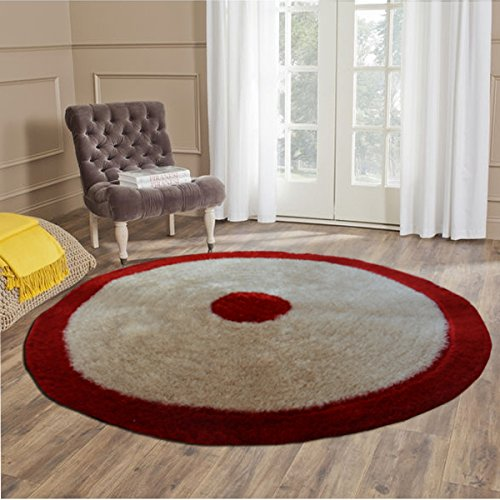 Handloom Soft Shaggy Plain Beige With Border Round Carpet (116 Cms) by Avioni