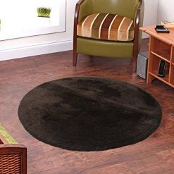 Handloom Soft Shaggy Plain Coffee Round Carpet (130 Cms) by Avioni