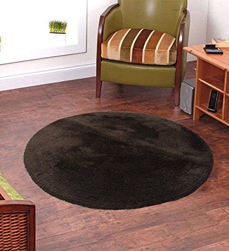 Handloom Soft Shaggy Plain Coffee Viscose Round Carpet (130 Cms) by Avioni