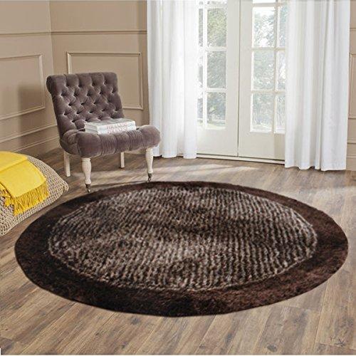 Handloom Soft Shaggy Plain Coffee With Border Round Carpet (130 Cms) by Avioni