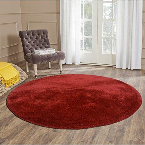 Handloom Soft Shaggy Plain Red Viscose Round Carpet (130 Cms)