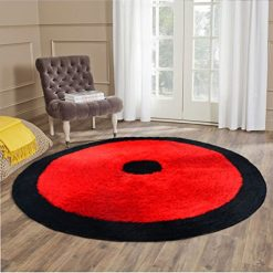 Handloom Soft Shaggy Plain Red With Border Round Carpet (130 Cms) by Avioni