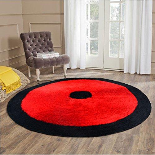 Handloom Soft Shaggy Plain Red With Border Round Carpet (130 Cms) by Avioni