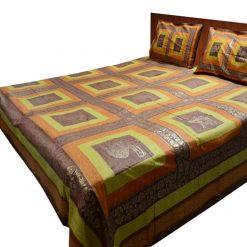 Jaipuri Gold Double Bedsheet 100% Cotton Orange And Yellow Print