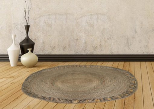 Jute Mat - Oval Design - Natural Braided Area Rug With Wave Border - Handmade & Unbleached -96 X 128 cms - Premium Rugs By Avioni