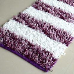 Buy Diwali Special Pooja Mat/ Bed Side Runner /Shaggy Rugs(56 X 140 cm) Purple And White By Avioni