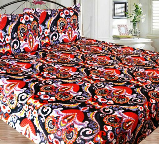 Double Bed Sheet Poly Cotton Fast Colors Best Price  Avioni Quality Guarantee In Red Multicolor Traditional Design