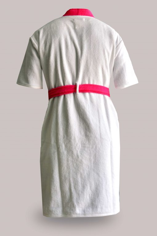 Loomkart Very FineExport Quality Bath Robes in White With Pink Very Soft Velvet Finish in Avioni Zip-Packing- Standard Size