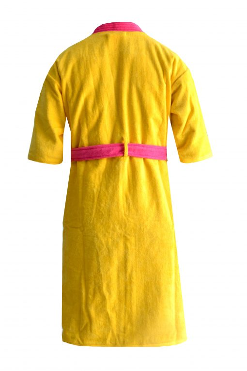 Loomkart Very Fine Export Quality Bath Robes in yellow With Pink Very Soft Velvet Finish in Avioni Zip-Packing- Standard Size
