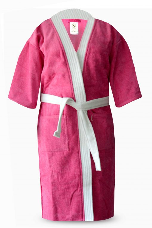 Loomkart Very Fine Export Quality Bath Robes in Pink With White Stripe Velvet Cotton Avioni Zip-Packing- Standard Size