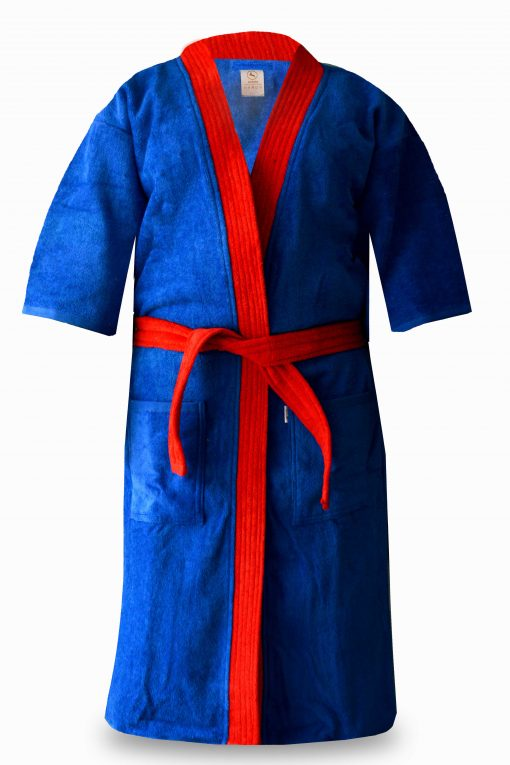 Loomkart Very Fine Export Quality Bath Robes in Blue With Red Stripe Velvet Cotton in Avioni Zip-Packing- Standard Size