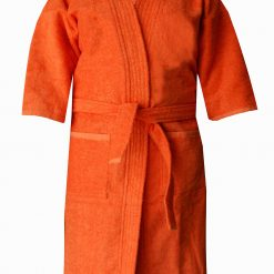 Loomkart Very Fine Export Quality Bath Robes in Orange With White Stripe in Avioni Zip-Packing- Standard Size