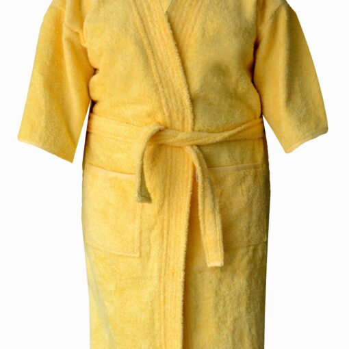 Loomkart Very Fine Export Quality Bath Robes in Mango Yellow With White Stripe in Avioni Zip-Packing- Standard Size