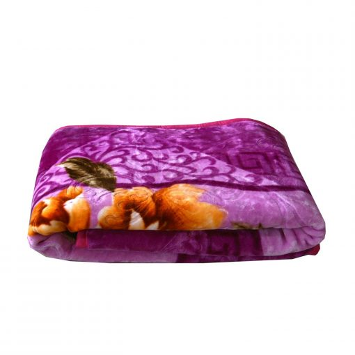 Mink Blankets Embossed in Purple Floral for Double Bed by Avioni