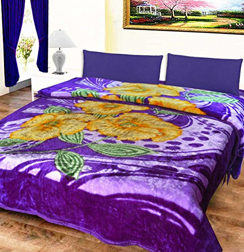 Mink Double Bed Blankets Purple Floral Very Soft And Warm by Avioni