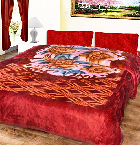 Mink Double Bed Blankets Embossed In Pink Floral Very Soft And Warm by Avioni