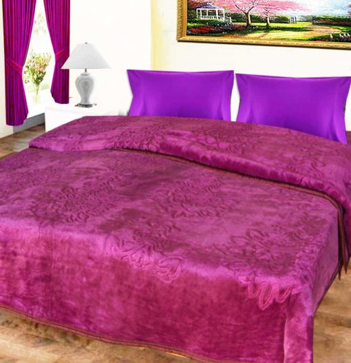 Avioni Mink Double Bed Blankets Purple Embossed Very Soft And Warm