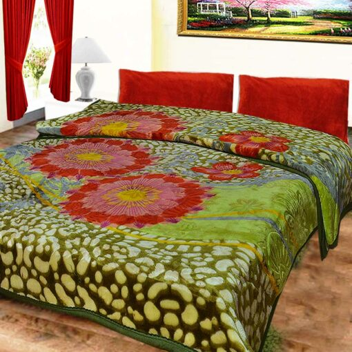 Avioni Mink Double BedBlankets Shiny Green Multicolor Very Soft And Warm …