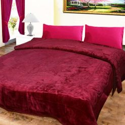 Avioni Mink Double BedBlankets Shiny Redish-Purple Very Soft And Warm