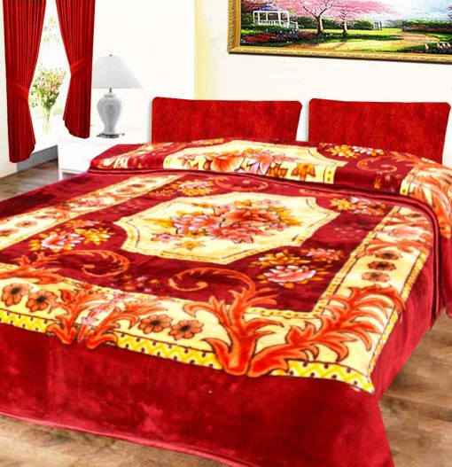 Avioni Mink Double Bed Blankets Multicolor Floral Soft And Warm