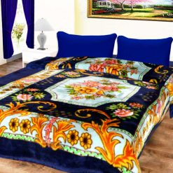 Avioni Mink Single Bed Blankets Blue Floral Soft And Warm