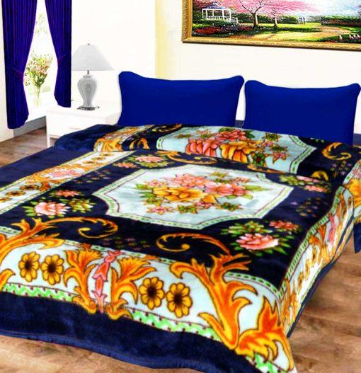 Avioni Mink Single Bed Blankets Blue Floral Soft And Warm