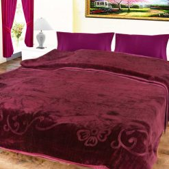Avioni Mink Double BedBlankets Self Embossed Purple Soft And Warm