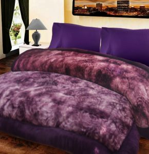 Double Bed Quilts Heavy Weight Extra Soft in Purple Self Floral Design With Microfiber Filling by Avioni