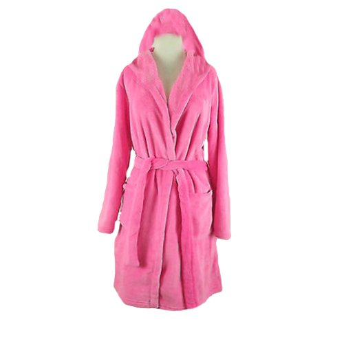 Bathrobes with Hood Very Fine Export Quality 100% Cotton in Pink Color by Avioni
