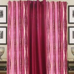 Pink And Mahroon Polyester And Crush Curtain Material (set of 3) by Avioni