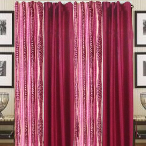 Pink And Mahroon Polyester And Crush Curtain Material (set of 4) by Avioni