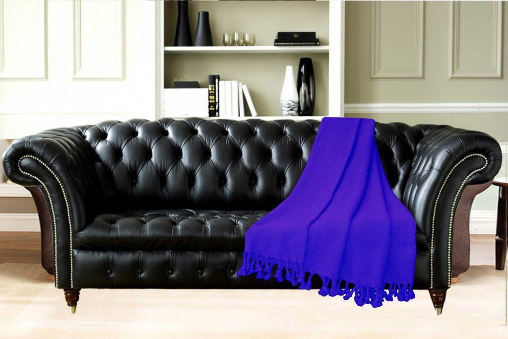 Premium 100% Cotton Sofa Throws/Blankets in Dark Blue by Avioni
