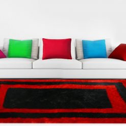Premium Black And Red Border Shaggy Carpet by Avioni