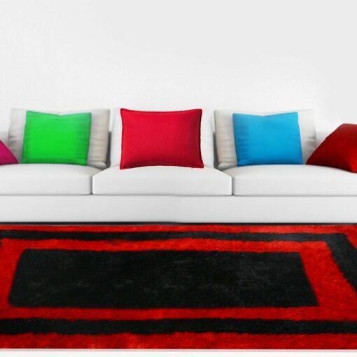 Premium Black And Red Border Shaggy Carpet (4X6 Feet) by Avioni