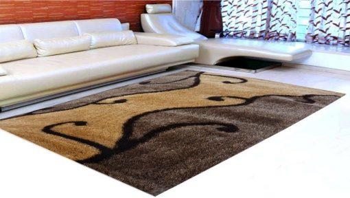 Premium Coffee Floral Pattern Premium Carpet (4X6 Feet) by Avioni