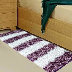 Buy Bed Side Runner /Shaggy Rugs(56 X 140 cm) Purple And White By Avioni
