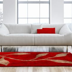 Designer Rugs From Avioni – Shaggy Modern Rugs with Red and Beige Leaves Design  –  Best Seller@ Avioni Factory Price
