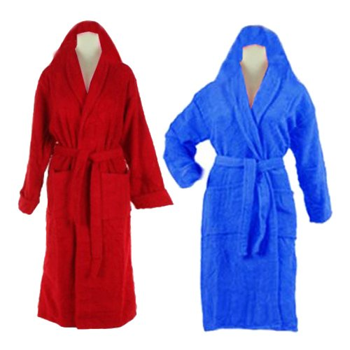 Export Quality 100% Cotton Unisex Bathrobes With Hood (set of 2 ) Red & Blue by Avioni