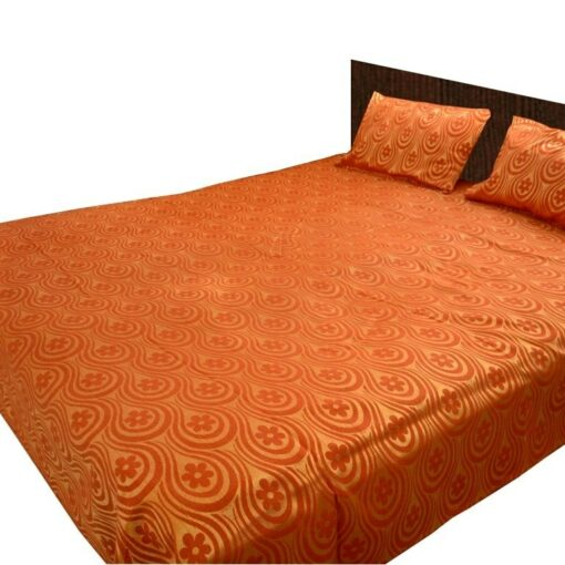 Rich Look Golden With Light Brown Double Bed Covers