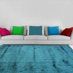 Premium Silk Carpet In Sea Green Color-6.5X5 Feet by Avioni