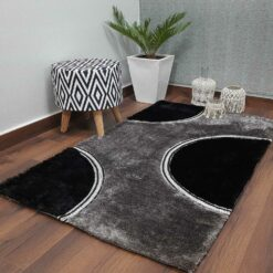 Designer Rugs From Avioni – Shaggy Modern Rugs with Black and Grey Circle Design  –  Best Seller@ Avioni Factory Price