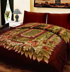 Double Bed Soft Mink Blankets with Multicolor - 92x94 Inches