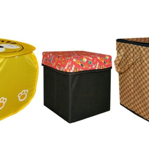 Avioni Storage Combo 3 in 1 With One Storage Stool, One Storage Box and One Laundry bag Multicolor