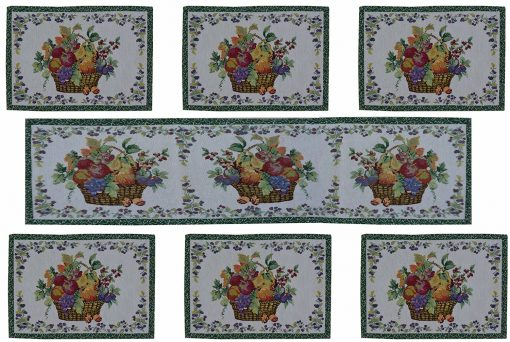 Beautiful Floral Table Mats With Runner (Set of Seven) by Avioni
