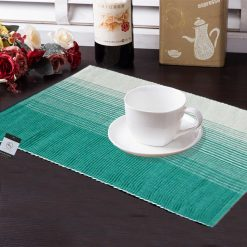 Avioni Premium Cotton Ribbed Table Mats Horizon Collection Export Quality Turquoise Green ( Set of 7)