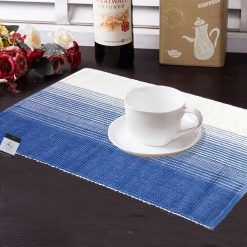 Avioni Premium Cotton Ribbed Table Mats Horizon Collection Export Quality Blue shades ( Set of 7)