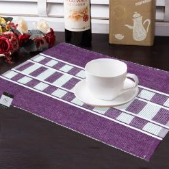 Avioni Premium Cotton Ribbed Table Mats Horizon Collection Export Quality Purple Design ( Set of 7)