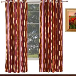 Avioni Home Fancy  Brown And Purple Waves Eyelet Curtain Polyester Material
