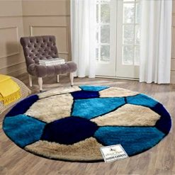 Avioni Modern Multicolor Round Foot Ball patterned Shag Carpet for Living/ Drawing Room